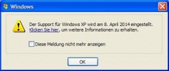 """XP-Support: Der Hinweis über das Ende des Supports lässt sich über """"Geplante Tasks"""" abschalten."""