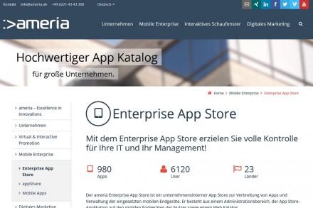 Mit dem Enterprise App Store von Ameria können Unternehmen ihren eigenen App Store einrichten und die mobilen Geräte der Mitarbeiter verwalten.