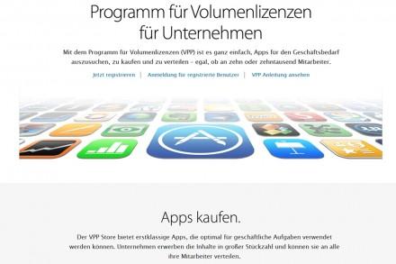 Apple bietet in seinem VPP-Store Apps speziell für Businesskunden.