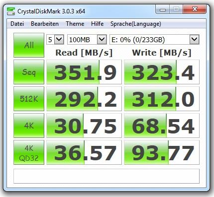 Benchmark-Ergebnisse für die SSD Samsung 840 EVO  (Bild: Christian Lanzerath).