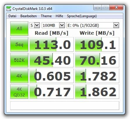 Benchmark-Ergebnisse für den HDD-Teil der WD Black² Dual Drive (Bild: Christian Lanzerath).