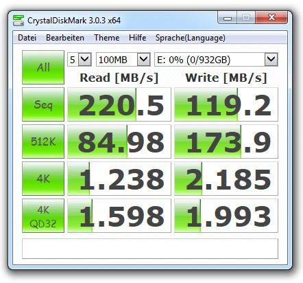 Benchmark-Ergebnisse für die HDD Westen Digital Blue (Bild: Christian Lanzerath).
