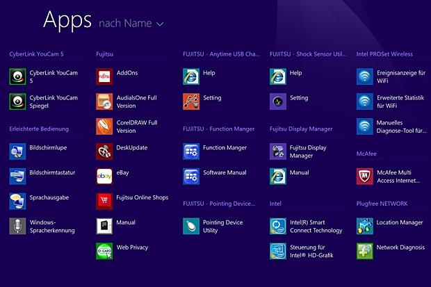Zahlreiche Apps von Fujitsu sind auf dem Startbildschirm von Windows 8.1 Pro vorinstalliert. (Foto: Mehmet Toprak)
