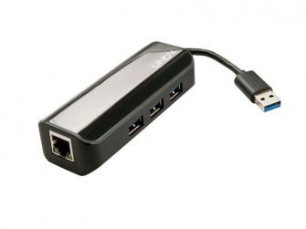 Lindy USB-3.0-Hub-und-GBit-Ethernet-Adapter
