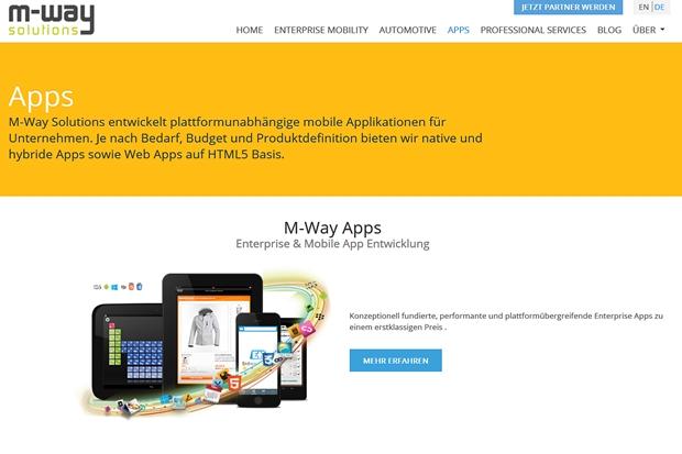 Bei Bedarf entwickelt M-Way Solutions auch Apps für Unternehmen, wahlweise auch auf Basis von HTML 5.