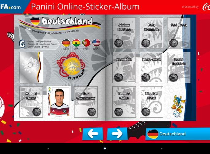 """Das gute alte Panini-Album gibt es jetzt auch auf dem Smartphone und Tablet. Mit der App """"Panini Online Sticker Album"""" erhalten Nutzer drei kostenlose virtuelle Päckchen mit Aufklebern am Tag. (Screenshot: ITespresso)"""