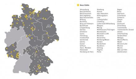 Eine Übersichtskarte mit bestehenden und die komplette Liste der bis Juni neu hinzukommenden Orte des WLAN-Hotspot-Netzes von Kabel Deutschland (Grafik: Kabel Deutschland).