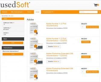 Usedsoft bietet über seinen Vertrieb und seinen Shop jetzt auch wieder Adobe-Lizenzen an (Screenshot: ITespresso)