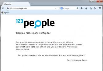 Auch eine Möglichkeit: 123people.de hat sich schon vor dem EUGH-Urteil sang- und klanglos aus dem Suchgeschäft verabschiedet (Screenshot: ITespresso).
