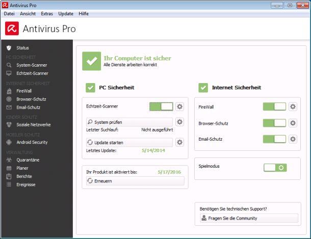 Die überarbeitete Oberfläche der bisher als s Antivirus Suite und künftig als Antivirus Pro bezeichneten Sicherheitssoftware von Avira (Screenshot: Avira).