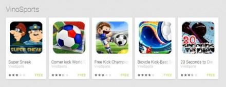 Der Entwickler der App, VinoSports, bietet auf Google Play fünf Spiele-Apps an, die Avast als Android:FakeViSport erkennt und blockiert (Bild: Avast).