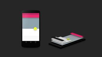Das Material Design von Android L erlaubt es Entwicklern, verschiedene Elemente ihrer Apps durch Schatten räumlich hervorzuheben (Bild: Google).