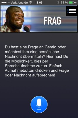 Frageoption in dr Geald-Asamoah-App (Bild: B-Side me).