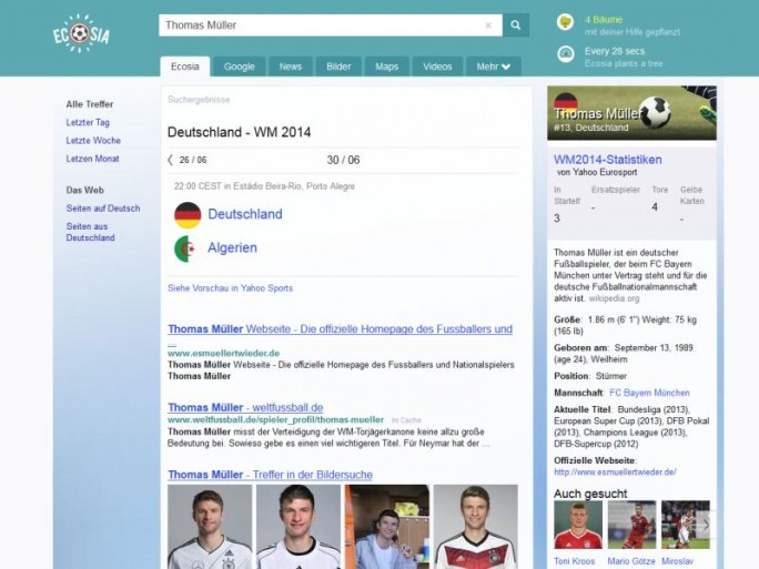 Die aktualisierte Ergebnisseite von Ecosia bei der Suche nach Thomas Müller (Screenshot: ITespresso).