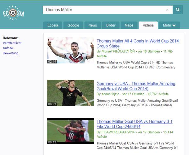 Über die Reiter am oberen Rand der Trefferliste kommen Nutzer nun schnell zu Bildern, Videos oder Nachrichten zum Suchbegriff (Screenshot: ITespresso).