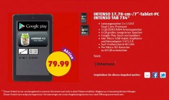 Ab 30. Juni für 80 Euro bei penny im Angebot: das Intenso Tab 734 (Screenshot: ITespresso).