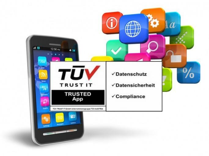 Trusted-App-Siegel: Shutterstock-Hintergrund mit TÜV-Siegel