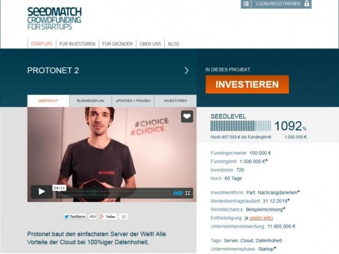 Binnen 90 Minuten hat das Hamburger Start-up Protonet auf Seedmatch 750.000 Euro eingesammelt - und damit einen Weltrekord beim Crowdfunding geknackt (Screenshot: ITespresso).