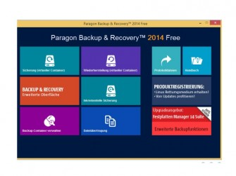 Startscreen Paragon Backup & Recovery Free