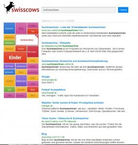 So arbeitet Swisscows: Die Suche nach dem Begriff Suchmaschinen liefert eine erste Trefferliste sowie links eine Sammlung damit zusammenhängender Begriffe - witzigerweise ohne 'Google' ...