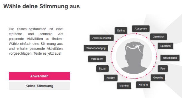 """Mit 13 """"Stimmungen"""" will Timply Nutzern eine Abkürzung zur gerade passenden Freizeitaktivität bieten (Screenshot: ITespresso)."""