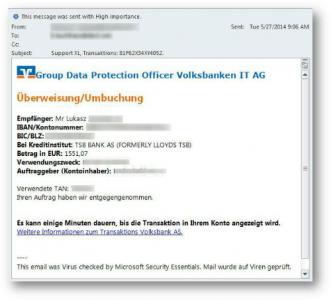 Die Banking-Malware EMOTET wird unter anderem über E-Mails verbreitet, in denen die Angreifer sich an Kunden der Volksbank wenden  (Bild: Trend Micro).