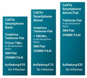 Die ab 2. Juli 2014 geltenden drei CallYa-Tarife von Vodafone (Grafik: Vodafone).