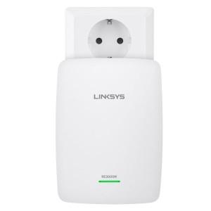 Der WLAN-Reichweitenverstärker Linksys RE3000W wird in der Steckdose platziert und verbindet dann im 2,4-GHz-Band oder per Ethernet-Kabel weiter (Bild: Linksys).