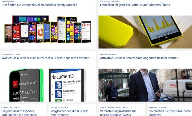 Nach der Übernahme des Mobiltelefongeschäfts von Nokia kann Microsoft auch bei der Hardware aus dem Vollen schöpfen. Der Screenshot zeigt die Nokia-Seite mit den Smartphones für Unternehmen.