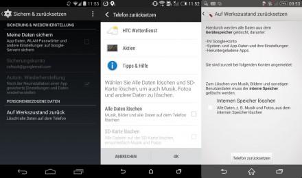 Unter Android findet sich die Zurücksetzen-Funktion in der Regel in den Geräteeinstellungen unter Sichern & Zurücksetzen. Von links nach rechts: Nexus 5, HTC One (M8), Sony Xperia Z2 (Bild: CNET.de).