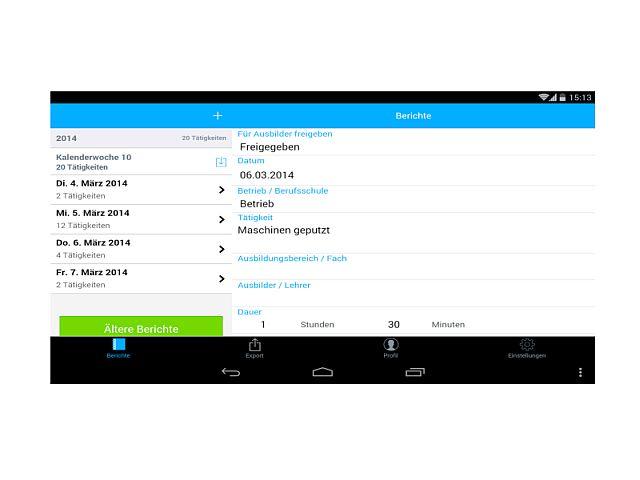 Berichtsheft-App: Wochen-Übersicht