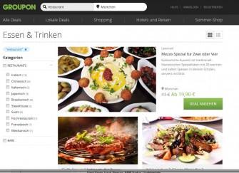 Bei der Schnäppchensuche auf Groupon Suche - zum Beispiel nach einem Restaurant - sollen Filterfunktionen am linken Rand schneller zum Ziel führen (Screenshot: ITespresso).