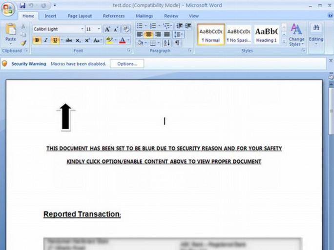 Word-Dokument mit Makro-Virus (Bild: Sophos)