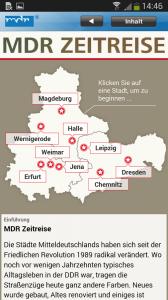 """Die App """"MDR Zeitreise"""" dient als historischer Stadtführer für neun Städte in Mitteldeutschland (Bild: MDR)."""