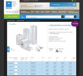Der auf der Magento Enterprise Edition basierende Webshop des Verpackungssanbieters Medewo (Screenshot: Daniel Hölzer).