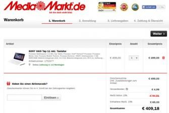 Der 19-Prozent-Rabatt bei Media Markt wird erst beim Gang zur Kasse abgezogen (Screenshot: ITespresso).