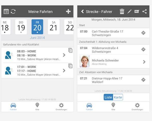 Die Twogo-App auf einem Android-Smartphone (Screenshot: SAP)