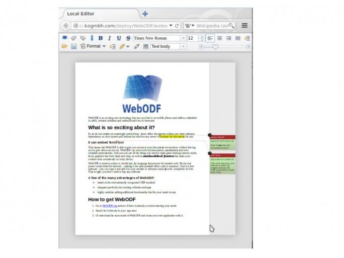 webODF Texteditor