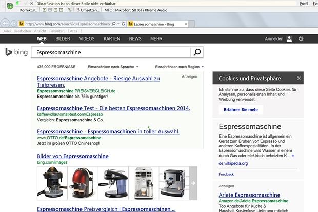 Cool: Die Websuche nach bestimmten Begriffen kann man direkt aus der Textverarbeitung heraus starten.
