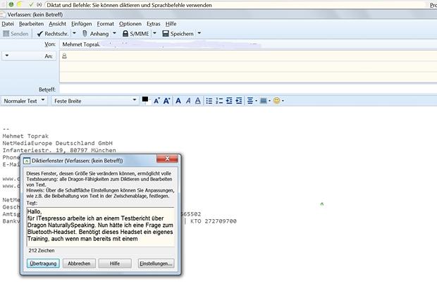 Will man E-Mails diktieren, öffnet Naturally Speaking ein eigenes Diktierfenster.