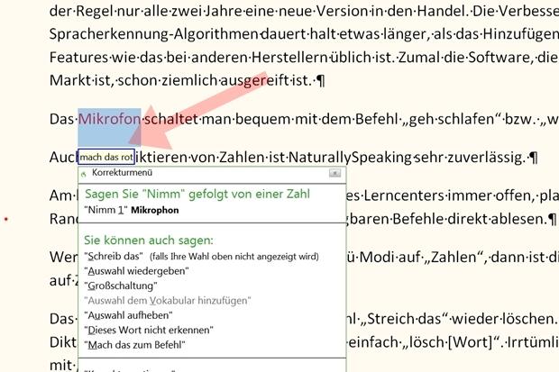 Auch die Korrektur und Formatierung des Textes erfolgt bequem und zuverlässig per Sprachbefehl.