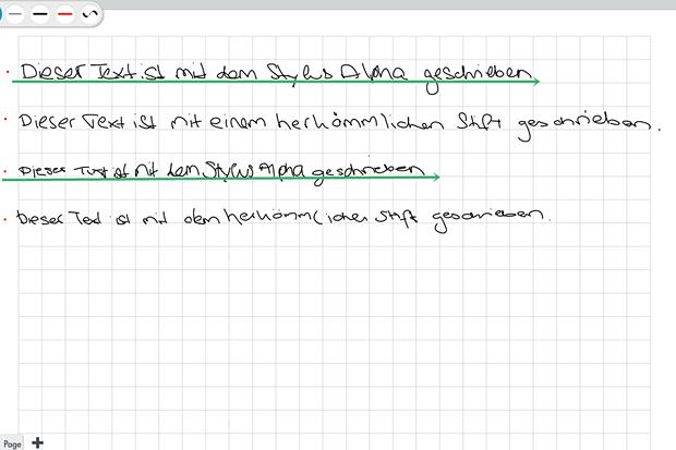 Beim Schreiben auf einem Galaxy Tab 3 bringt der Alpha keine Vorteile gegenüber einem herkömmlichen Eingabestift. Die grün unterstrichenen Zeilen sind mit dem Alpha entstanden (Screenshot: Mehmet Toprak)