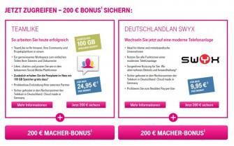 Die Deutsche Telekom bewirbt ihre KMU-Angebote Teamlike für die Kollaboration im Web und die gehostete Telefonanlage DeutschlandLAN Swyx derzeit mit einem Macher-Bonus genannten Rabatt von 200 Euro (Screenshot: ITespresso).