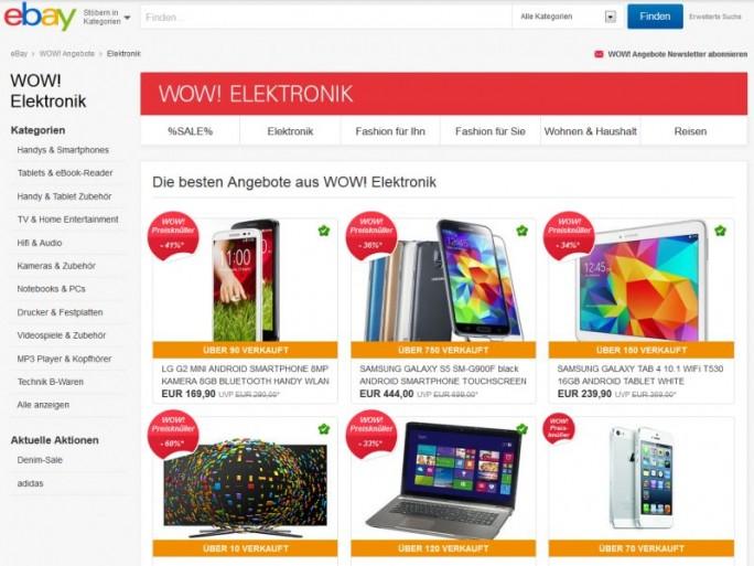 Die WOW-Angebote bei Ebay: Wie immer zeitlich und mengenmäßig befristet (Screenshot: ITespresso).