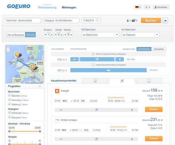 Bei der Suche nach Fernverbindungen konzentriert sich GoEuro auf die Fluggesellschaften (Screenshot: ITespresso)