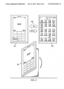Auszug aus dem SAP-Patent US2014215201, das ein mobiles Endgerät beschreibt, das über verschiedene Faltungen unterschiedliche Modi und Funktionen bereitstellt (Bild: US Patent Application Publication/T. Pfeifer, SAP SE).