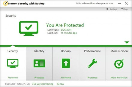 Norton Security mit Backup (Screenshot: Symantec)
