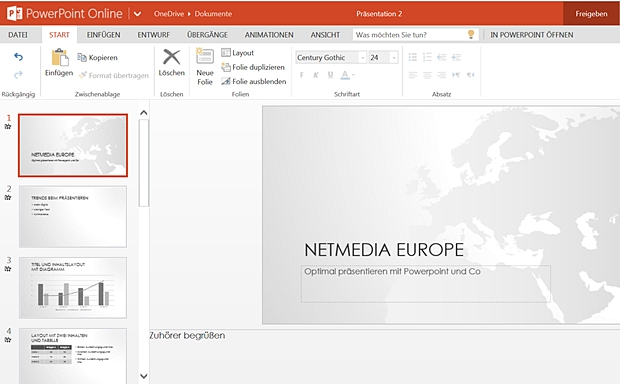 Microsofts Desktop-Klassiker Powerpoint ist längst auch in der Cloud verfügbar.