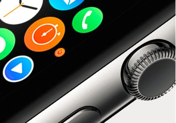 Mit dem Rädchen an der Seite verspricht Apple bei seiner Smartwatch eine präzise Bedienung (Screenshot: Gizmodo).