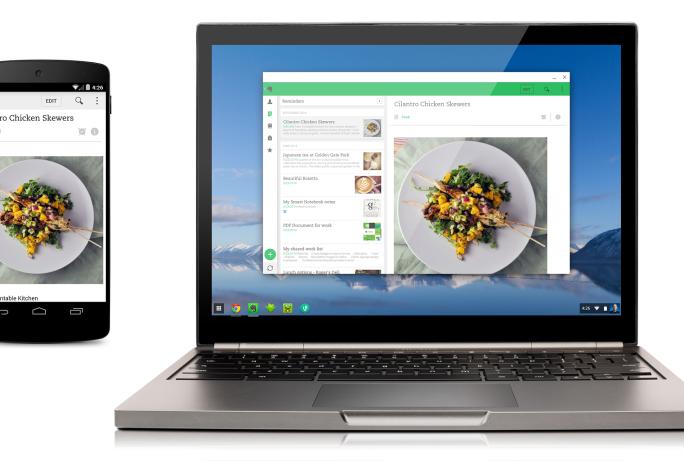 Die Evernote-App und drei andere Anwendungen lassen sich jetzt auch auf Chromebooks nutzen (Bild: Google).